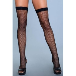 Pančuchy Be Wicked Nylon Fishnet Thigh Highs black SL