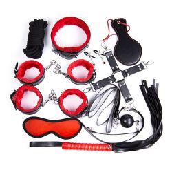 Desaťdielnej sada bondage sex toy kit BDSM čierno - červená