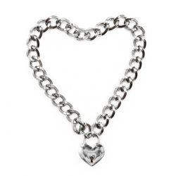 BDSM reťaz na krk so zámkom v tvare srdca